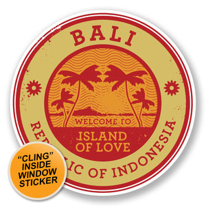 2 x Bali Indonesia WINDOW CLING STICKER Car Van Campervan Glass #6490