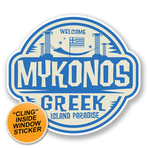2 x Mykonos Greece WINDOW CLING STICKER Car Van Campervan Glass #6493