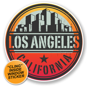 2 x Los Angeles California USA WINDOW CLING STICKER Car Van Campervan Glass #6496