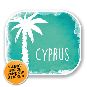 2 x Cyprus WINDOW CLING STICKER Car Van Campervan Glass #6505