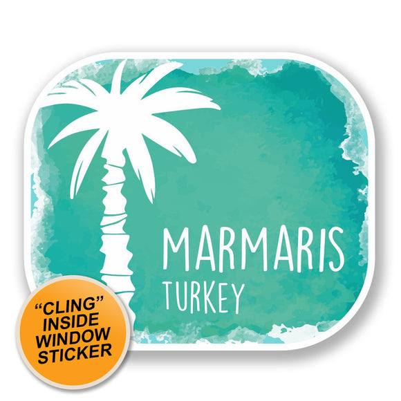 2 x Marmaris Turkey WINDOW CLING STICKER Car Van Campervan Glass #6507