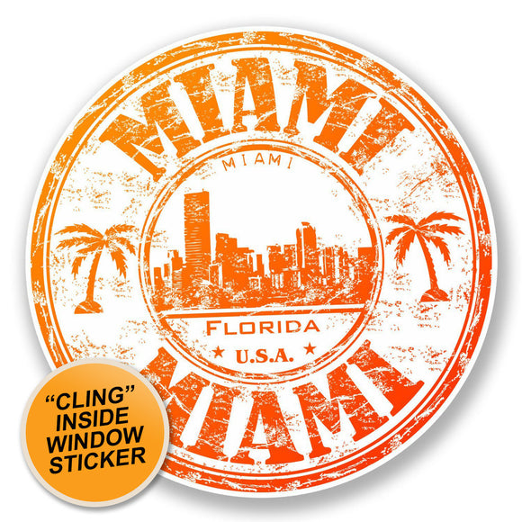 2 x Miami Florida USA WINDOW CLING STICKER Car Van Campervan Glass #6511