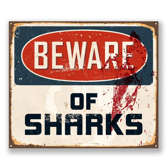 2 x Beware of Sharks Vinyl Sticker #6526