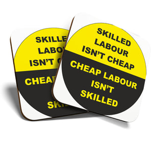 Great Coasters (Set of 2) Square / Glossy Quality Coasters / Tabletop Protection for Any Table Type - Skilled Labor Construction Site  #6566