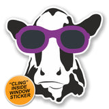 2 x Cool Cow WINDOW CLING STICKER Car Van Campervan Glass #6568