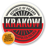 2 x Krakow Poland WINDOW CLING STICKER Car Van Campervan Glass #6572