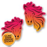 2 x Pretty Pink Horse WINDOW CLING STICKER Car Van Campervan Glass #6583
