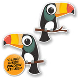 2 x Toucan WINDOW CLING STICKER Car Van Campervan Glass #6584