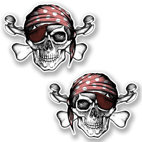 2 x Jolly Roger Skull Vinyl Sticker #6624