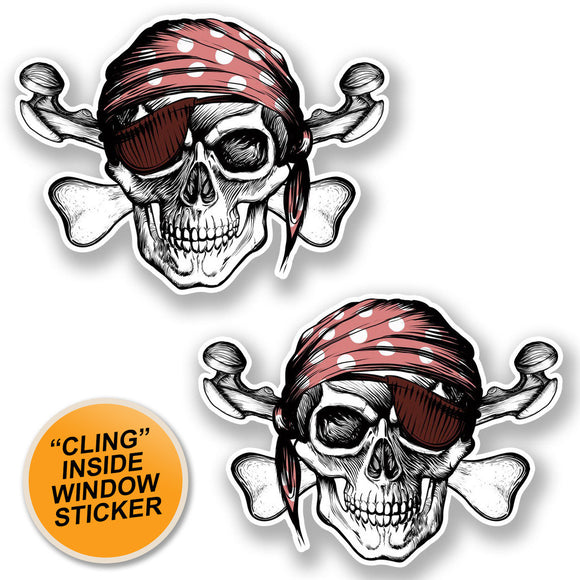 2 x Jolly Roger Skull WINDOW CLING STICKER Car Van Campervan Glass #6624