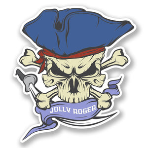2 x Jolly Roger Skull Vinyl Sticker #6627