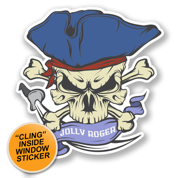 2 x Jolly Roger Skull WINDOW CLING STICKER Car Van Campervan Glass #6627