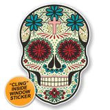 2 x Sugar Skull WINDOW CLING STICKER Car Van Campervan Glass #6636