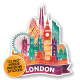 2 x London England UK WINDOW CLING STICKER Car Van Campervan Glass #6639