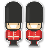 2 x London Queen's Guard Soldier Vinyl Sticker #6641