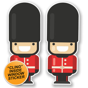 2 x London Queen's Guard Soldier WINDOW CLING STICKER Car Van Campervan Glass #6641