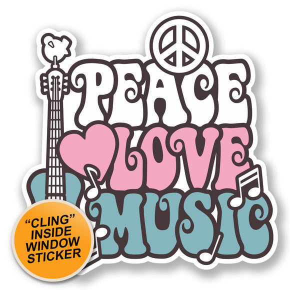 2 x Love Peace Music WINDOW CLING STICKER Car Van Campervan Glass #6648