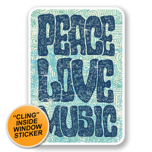 2 x Love Peace Music WINDOW CLING STICKER Car Van Campervan Glass #6649