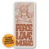 2 x Love Peace Music WINDOW CLING STICKER Car Van Campervan Glass #6650