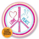 2 x Love & Peace WINDOW CLING STICKER Car Van Campervan Glass #6651