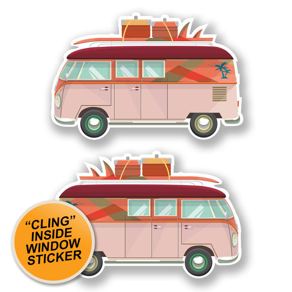 2 x Camper Van WINDOW CLING STICKER Car Van Campervan Glass #6653