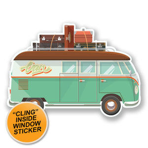 2 x Camper Van WINDOW CLING STICKER Car Van Campervan Glass #6654