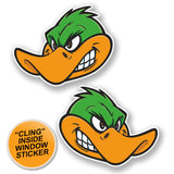 2 x Angry Duck WINDOW CLING STICKER Car Van Campervan Glass #6661