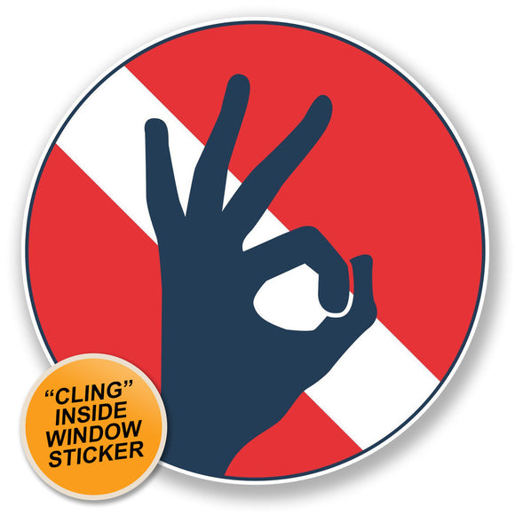 2 x Scuba Diving WINDOW CLING STICKER Car Van Campervan Glass #6670