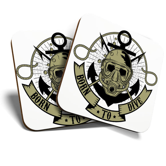 Great Coasters (Set of 2) Square / Glossy Quality Coasters / Tabletop Protection for Any Table Type - Awesome Born To Dive Scuba Skull  #6672