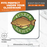 Great Coasters (Set of 2) Square / Glossy Quality Coasters / Tabletop Protection for Any Table Type - Carp Society Fish Fishing Box  #6673