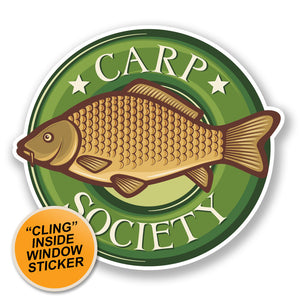 2 x Carp Fish WINDOW CLING STICKER Car Van Campervan Glass #6673