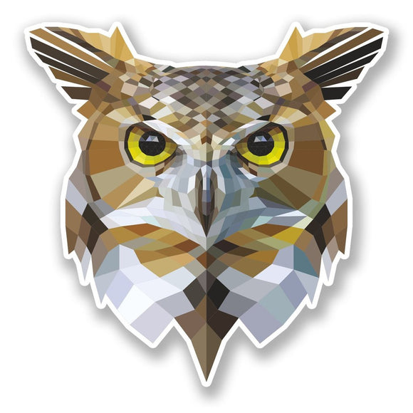 2 x Abstract Owl Vinyl Sticker #6674