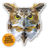 2 x Abstract Owl WINDOW CLING STICKER Car Van Campervan Glass #6674