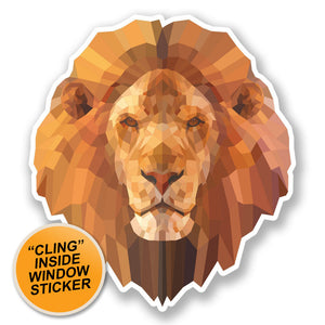 2 x Abstract Lion WINDOW CLING STICKER Car Van Campervan Glass #6675