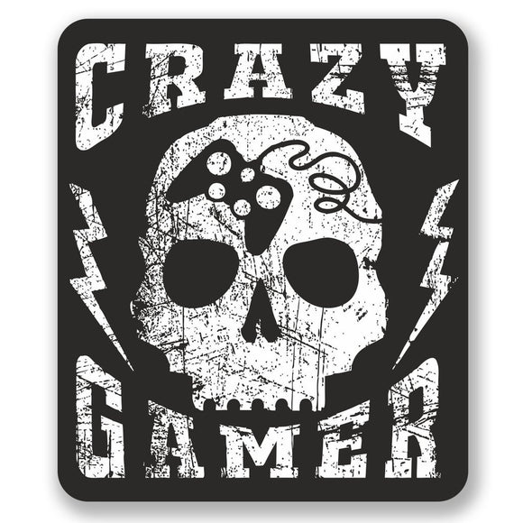 2 x Crazy Gamer Skull Vinyl Sticker #6678