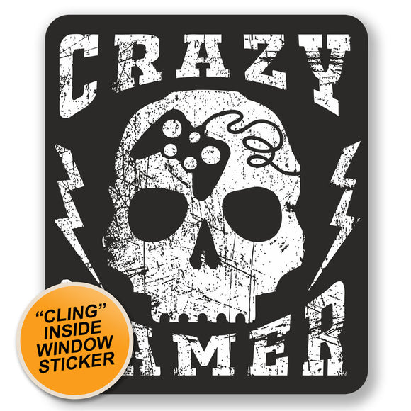 2 x Crazy Gamer Skull WINDOW CLING STICKER Car Van Campervan Glass #6678