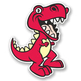 2 x Happy Pink T-Rex Dinosaur Vinyl Sticker #6687