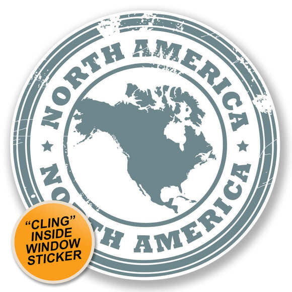 2 x North America USA Car WINDOW CLING STICKER Car Van Campervan Glass #6691