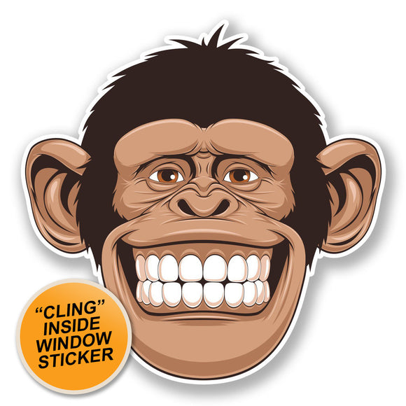 2 x Cheeky Monkey WINDOW CLING STICKER Car Van Campervan Glass #6695