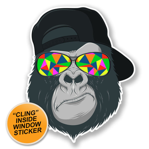 2 x Cool Gorilla WINDOW CLING STICKER Car Van Campervan Glass #6696