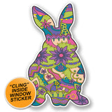 2 x Flower Rabbit WINDOW CLING STICKER Car Van Campervan Glass #6697