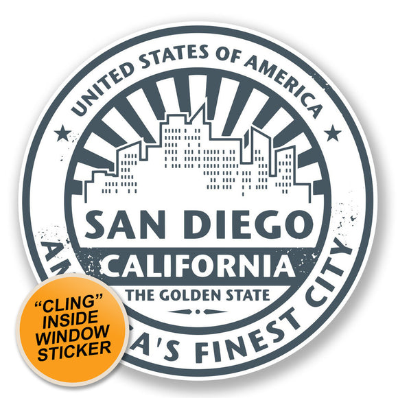 2 x San Diego USA America WINDOW CLING STICKER Car Van Campervan Glass #6700