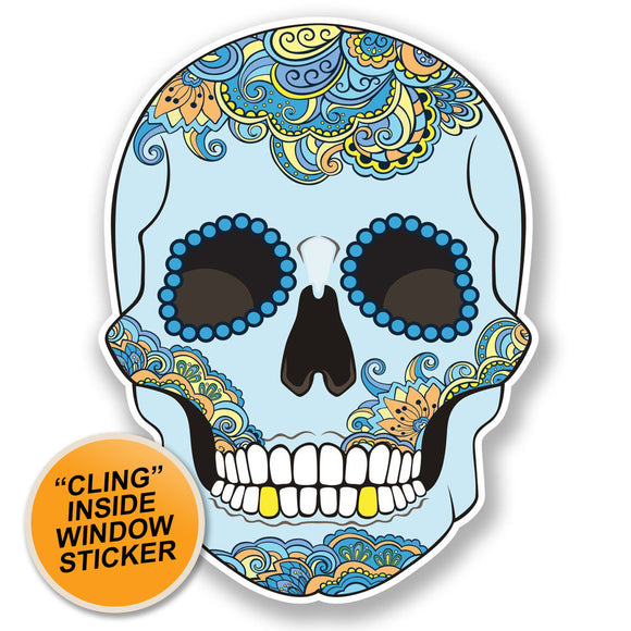 2 x Blue Sugar Skull WINDOW CLING STICKER Car Van Campervan Glass #6705