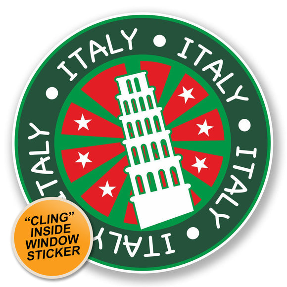 2 x Pisa Italy WINDOW CLING STICKER Car Van Campervan Glass #6706