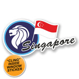 2 x Singapore WINDOW CLING STICKER Car Van Campervan Glass #6707