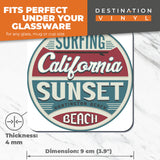 Great Coasters (Set of 2) Square / Glossy Quality Coasters / Tabletop Protection for Any Table Type - Huntington Beach Surfing California  #6716