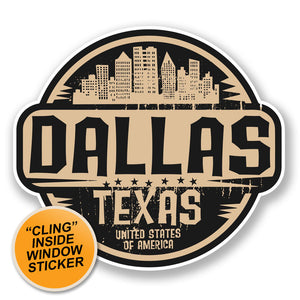 2 x Dallas Texas USA WINDOW CLING STICKER Car Van Campervan Glass #6719