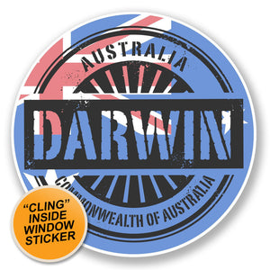 2 x Darwin Australia WINDOW CLING STICKER Car Van Campervan Glass #6721