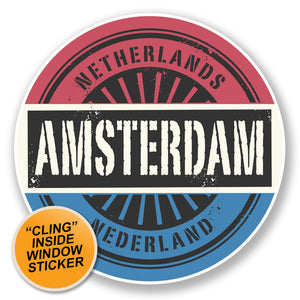 2 x Amsterdam Netherlands WINDOW CLING STICKER Car Van Campervan Glass #6724