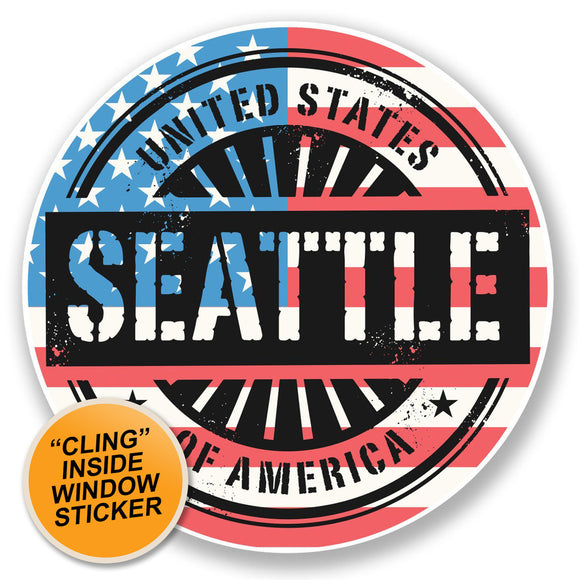 2 x Seattle Washington USA WINDOW CLING STICKER Car Van Campervan Glass #6727